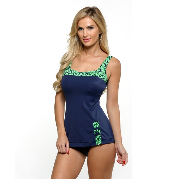 Fit 4 U Navy Abstract Roses Retro Sheath Swimsuit