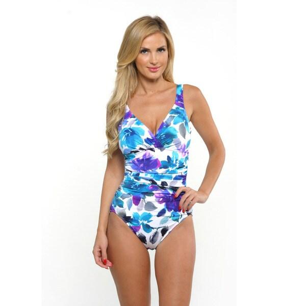 Miraclesuit Women's Blue Watercolor Floral Averi Front Twist Swimsuit