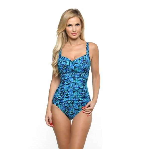 Miraclesuit Women's Blue Averi Front Twist Swimsuit