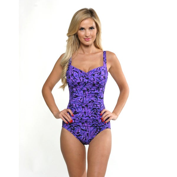 Miraclesuit Women's Eggplant Purple Averi Front Twist Swimsuit