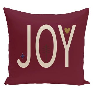 Red Decorative Holiday Word Print 18-inch Pillow