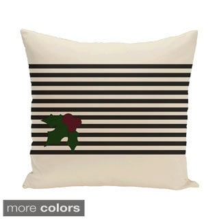 Red/ Black/ Green Decorative Holiday Stripe Print 20-inch Pillow