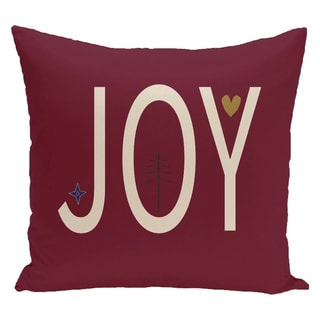 Red Decorative Holiday Word Print 20-inch Pillow
