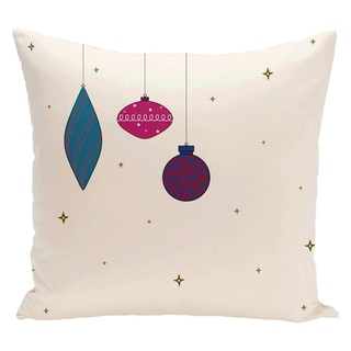 White Holiday Pattern 26-inch Decorative Pillow