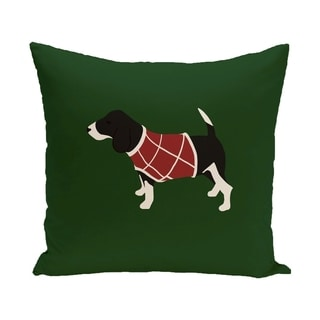 Green Decorative Holiday Animal Pattern 20-inch Accent Pillow