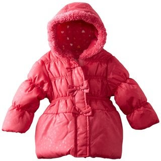 Pink Platinum Girls' Tonal Heart Printed Hooded Puffer Jacket
