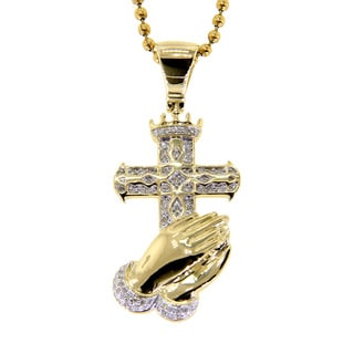 10k Yellow Gold 1/4ct TDW Diamond Cross Praying Hand Necklace (G-H, I2-I3)