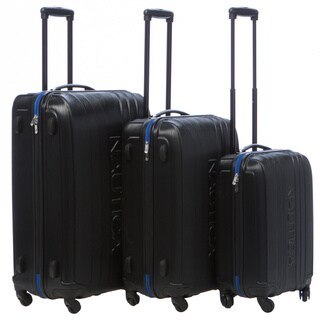 Nautica True Winds Black/Cobalt Blue 3-piece Hardside Spinner Luggage Set