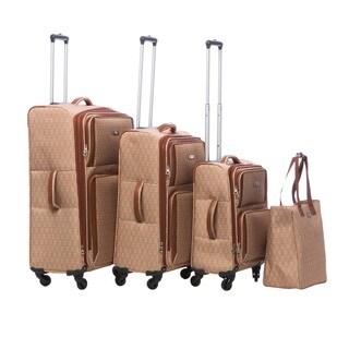 Nine West Aleigh Tan/Cream 4-piece Spinner Luggage Set