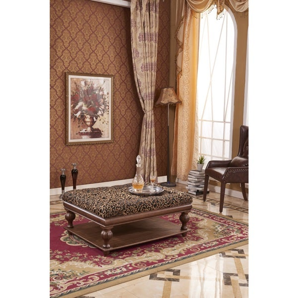 Classic Black Floral Tufted Ottoman Bench