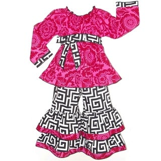 AnnLoren Girls' Hot Pink Floral Blossom and Black and White Geometric Pants Outfit