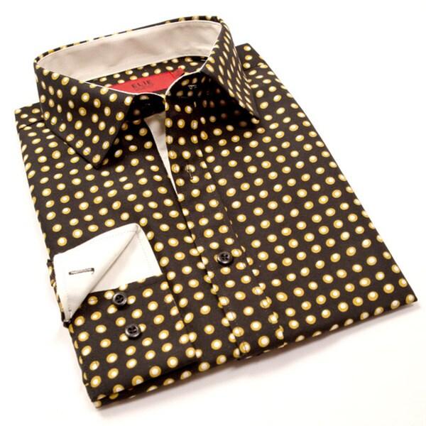 Elie Balleh Milano Italy Boys' 2015 Style Black Polka Dot Rayon and Polyester Long-sleeve Slim-fit Shirt