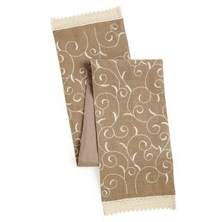 Celebration Embroidered Natural Jute Table Runner