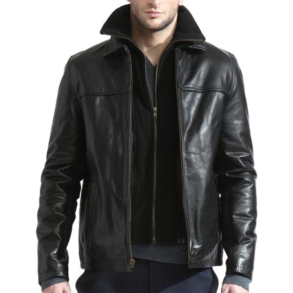 Men's Black Leather Jacket with Removable Fleece Collar (Slim European Fit) (As Is Item)