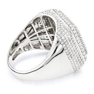 14k White Gold Men's 3 1/2ct TDW Diamond Square Ring (H-I, SI1-SI2)