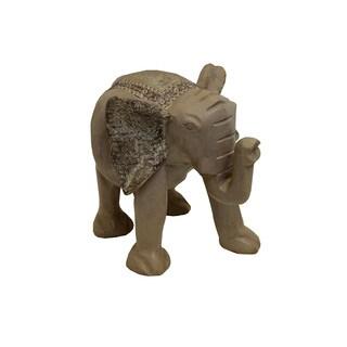 Hand-Carved Wood Walking Elephant (Ghana)