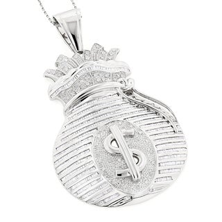 Luxurman 14k White Gold 6 1/2ct TDW Diamond Money Bag Hip-Hop Necklace (H-I, SI1-SI2)