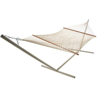 Deluxe Polyester Taupe Rope Hammock