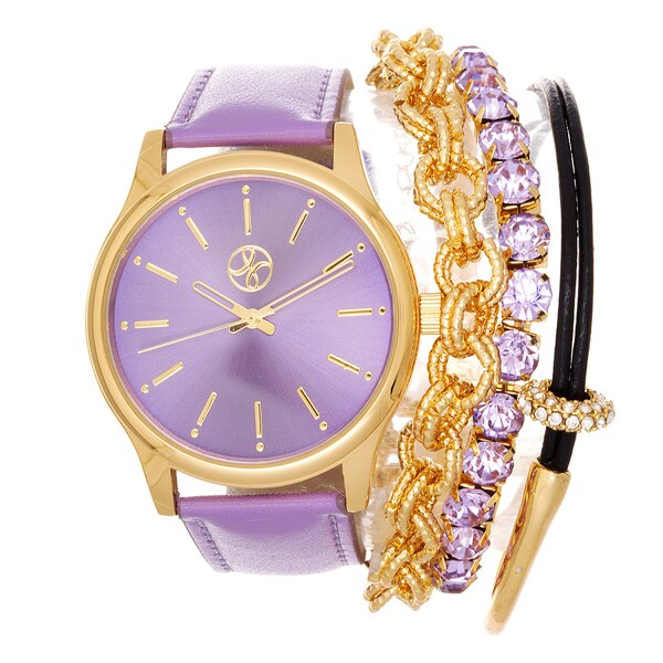 Fortune NYC Arm Candy Ladie's Fashion Purple Watch with a Set of 3 Bracelets