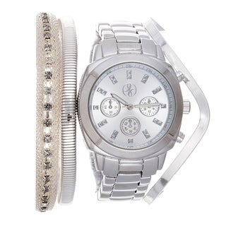 Fortune NYC Arm Candy Ladie's Fashion Silver Watch with a Set of 3 Bracelets