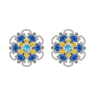 Lucia Costin Gold Over Sterling Silver, Light Blue, Blue Swarovski Crystal, Stud Earrings