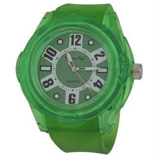 Zunammy Men's Round Case / Green Rubber Strap Watch