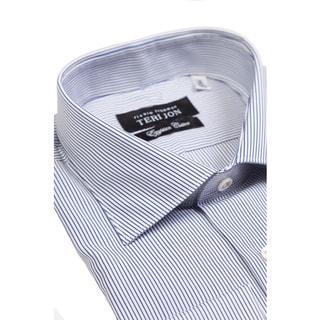 Teri Jon Pour Monsieur Men's Bentley Blue Stripe Egyptian Cotton Dress Shirt
