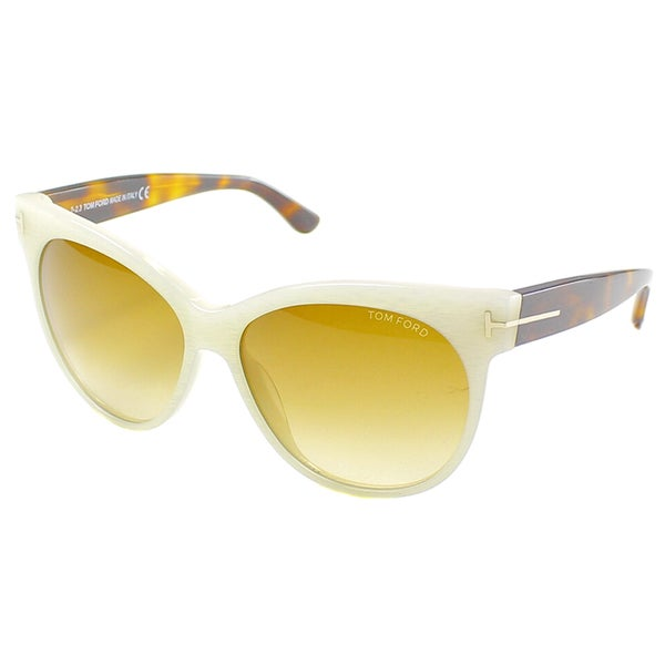 Tom Ford Womens TF 330 Saskia 20F Ivory Havana Cat Eye Sunglasses