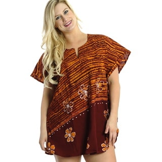La Leela 100-percent Cotton Batik Flower Printed Night Gown Short Kaftan Brown