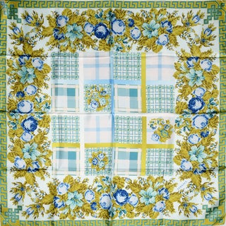 Versace Blue and Gold Floral Square Silk Scarf