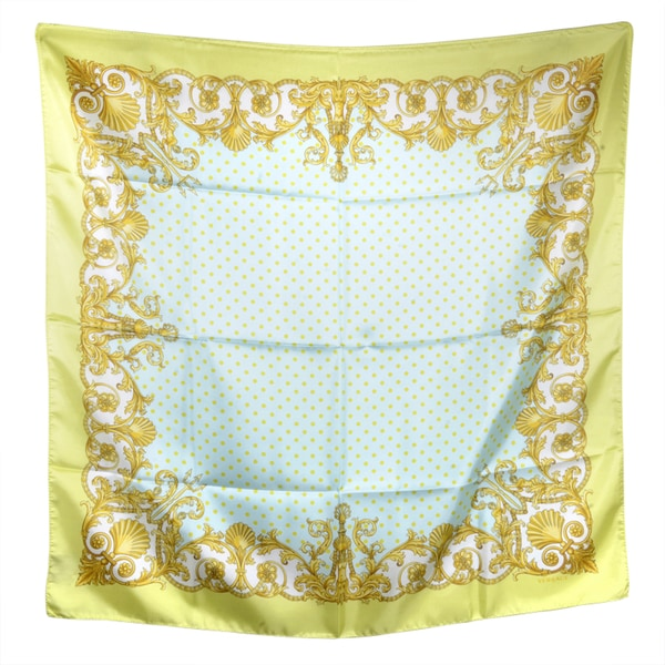 Versace Blue/ Gold Spotted Square Silk Scarf