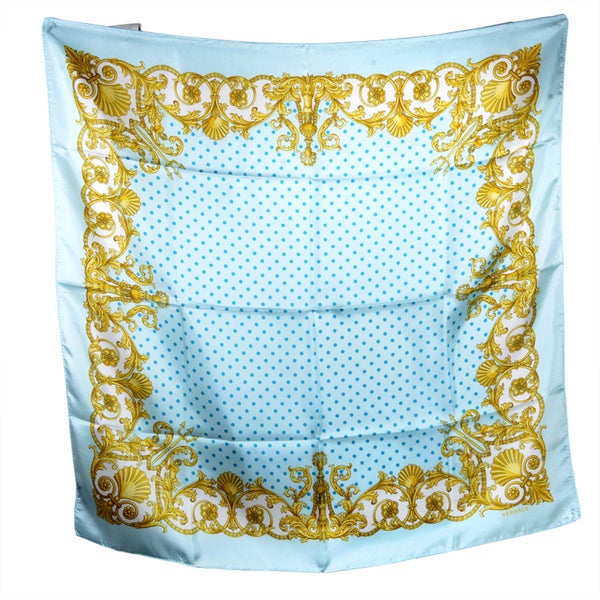 Versace Blue and Gold Spotted Square Silk Scarf