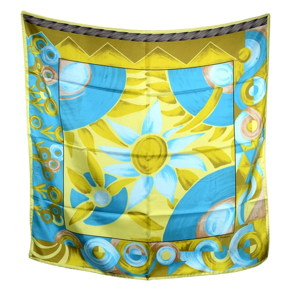 Versace Blue and Yellow Floral Square Silk Scarf