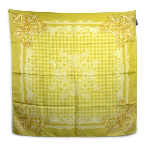 Versace Lemon-Yellow Checkered Square Silk Scarf