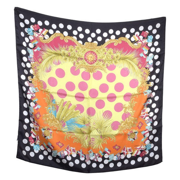 Versace Square Multi-colored Flags Silk Scarf