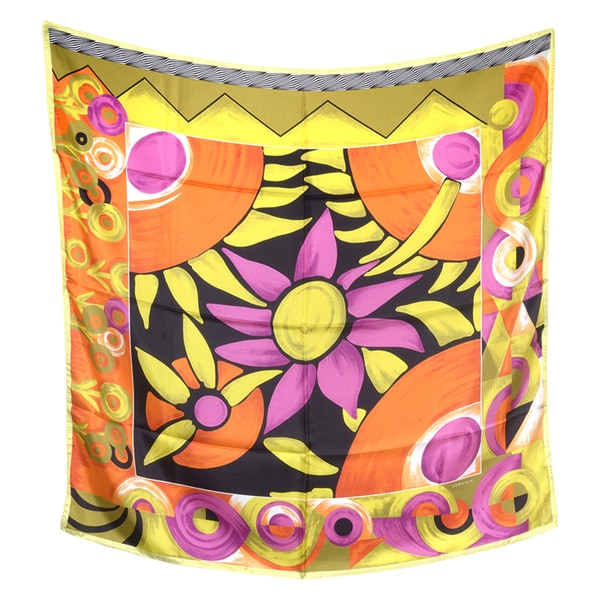 Versace Square Multi-colored Floral Silk Scarf