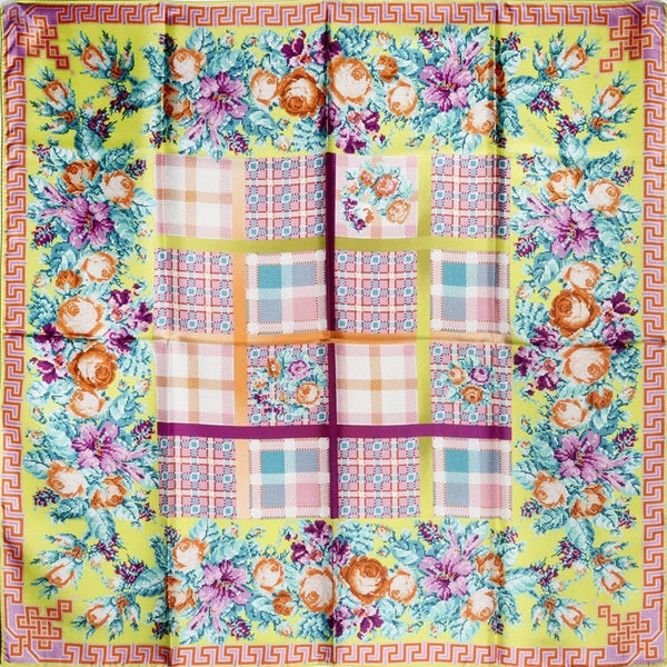 Versace Multi-colored Floral Square Silk Scarf