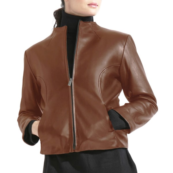 Women's Brown Collarless Leather Jacket with Zip out Liner