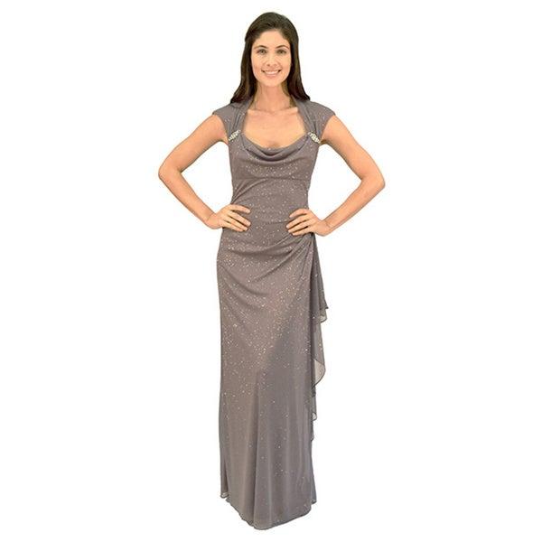 R&M Richards Glitter Matte Evening Gown