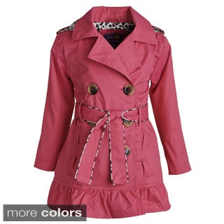 Pink Platinum Little Girls Belted Trench Spring Jacket with Detachable Hood