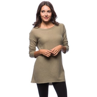 Premise Long Sleeve Computer Knit Boat Neck A-Line Cashmere Tunic