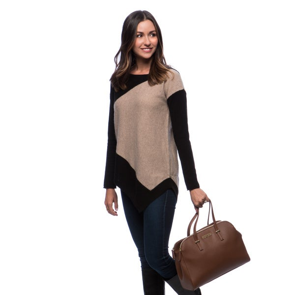 Premise Intersia Boat Neck Colorblock Asymmetrical Hem Long Sleeve Jersey Cashmere Pullover (As Is Item)