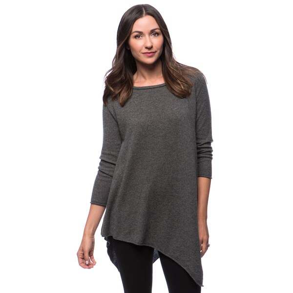 Premise Long Sleeve Jersey Scoop Neck Handkercheif Hem Cashmere Tunic