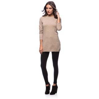 Premise Long Sleeve Jersey Boat Neck Back Contrast Seam Cashmere Tunic