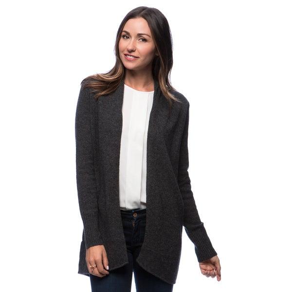 Premise Long Sleeve Jersey Computer Knit Open Front Tubular Seam Cashmere Cardi