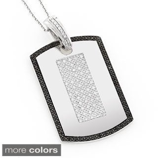 Luxurman 14k Gold 1 1/2ct TDW Black and White Diamond Dog Tag Pendant (H-I, I1-I2)