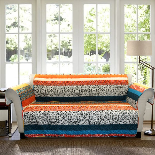 Lush Decor Boho Stripe Loveseat Turquoise Tangerine Furniture Protector Slipcover 17348787