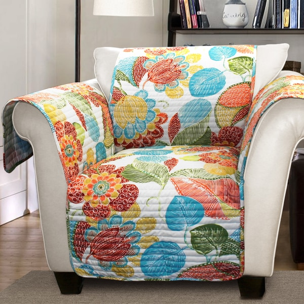 Lush Decor Layla Armchair Orange/ Blue Furniture Protector Slipcover