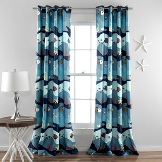 Lush Decor Sea Life 84-Inch Blackout Window Curtain Panel Pair