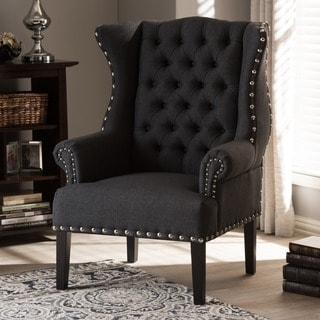 Baxton Studio Patterson Grey Linen & Burlap Upholstered Accent Chair With Button Tufting Nail Head Trim And Wing Back Design